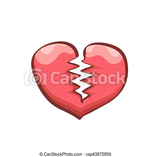 Vector Cartoon Style Red Broken Heart Isolated On White Background Concept Icon Of Divorce Depression Bad Mood Disease Or Unrecognized Teen