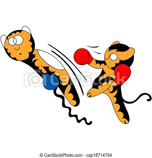 Vector cartoon tiger cub cute young martial arts - csp18714704
