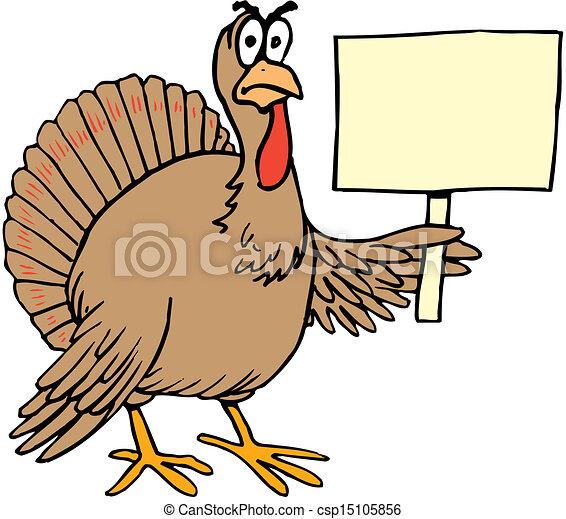 vector cartoon turkey holding sign rh canstockphoto com pictures of cartoon turkeys images of cartoon turkey feet