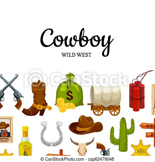 Vector cartoon wild west background with place for text - csp62479048