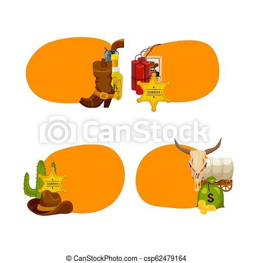 Vector cartoon wild west elements stickers isolated - csp62479164