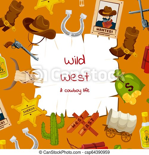 Vector cartoon wild west elements background with place for text illustration - csp64390959