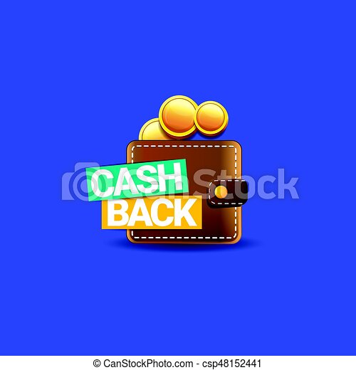 vector cash back icon with coins and wallet isolated on blue background cashback or money refund label https www canstockphoto com vector cash back icon with coins and 48152441 html