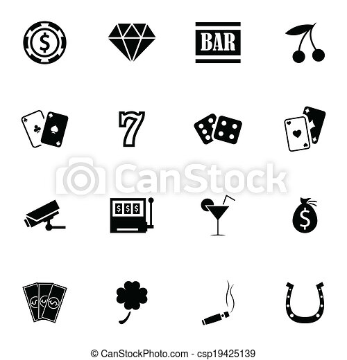 vector, casino, set, black , iconen - csp19425139