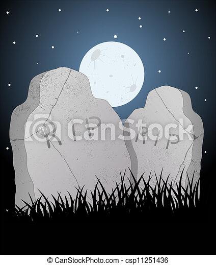 vector, cementerio - csp11251436