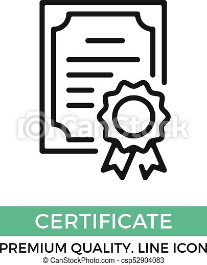 Vector certificate icon. Achievement, award, grant, diploma concepts. Premium quality graphic design elements. Modern sign, linear pictogram, object, outline symbol, simple thin line icon - csp52904083