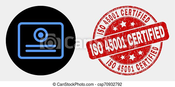 Vector Certificate Icon and Scratched ISO 45001 Certified Stamp - csp70932792