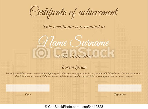 Vector certificate template in brown colors with city.