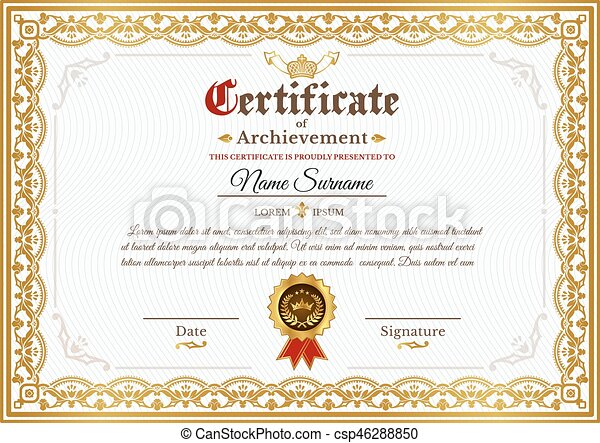 Vector Certificate Template With Golden Vintage Ornament Vector