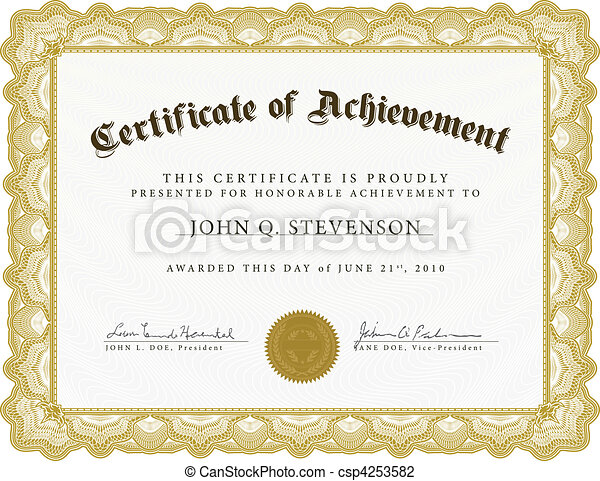 Vector certificate with heavy border. Vector certificate. easy to ...