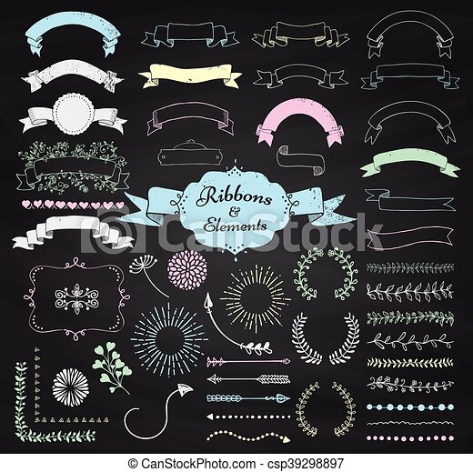 Vector chalk drawing design elements and ribbons set set of chalk vector chalk drawing design elements and ribbons set junglespirit Choice Image