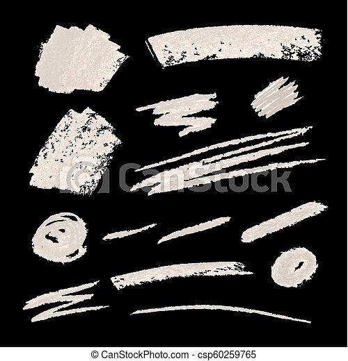 Vector Chalk Texture Design Elements Set, White Scribble Lines on Blackboard Background. - csp60259765