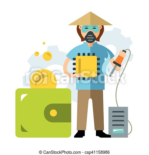 Vector Cheap Asian labor. The savings in the production of computer components. Flat style colorful Cartoon illustration. - csp41158986