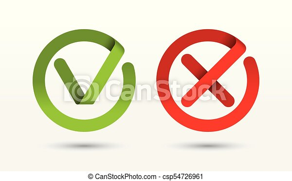 Vector Check Mark And Cross Mark Icons Symbols Signs Buttons