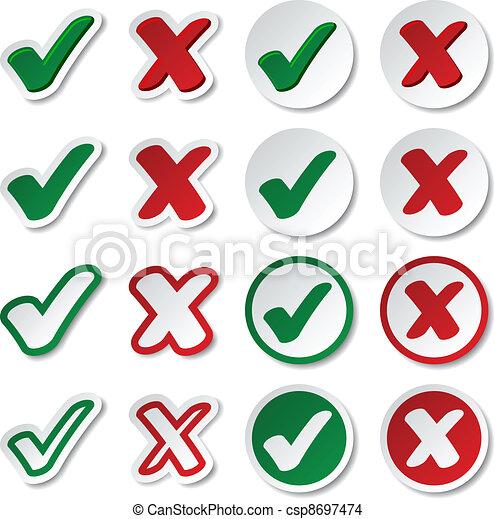 vector checkmark stickers - csp8697474