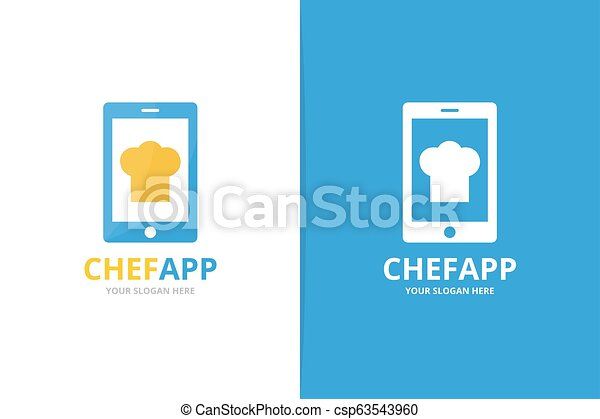 Vector chef hat and phone logo combination. Kitchen and mobile symbol or icon. Unique cook and device logotype design template. - csp63543960