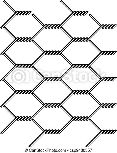 vector chicken wire seamless black silhouette - csp9488557
