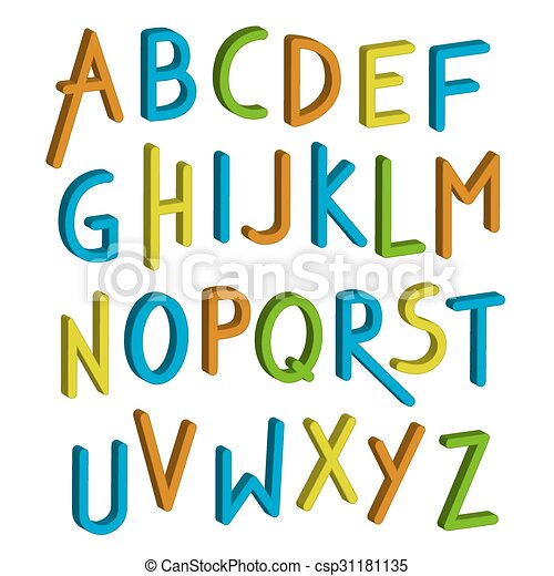 vector children font colorful alphabet letters in child style rh canstockphoto com vector letters for employment vector letters free