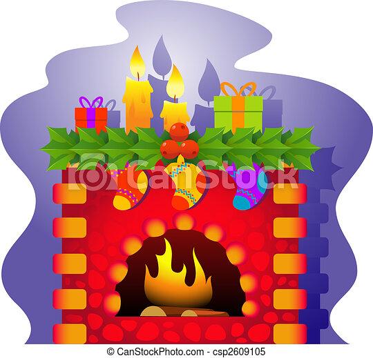 8 theme ilustracin eps ai vector chimenea navidad
