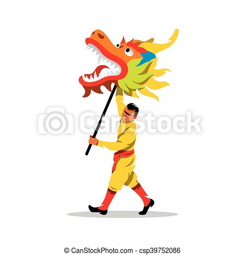 vector chinese dragon and man dancing in traditional vector rh canstockphoto com chinese dragon clipart free chinese dragon head clipart