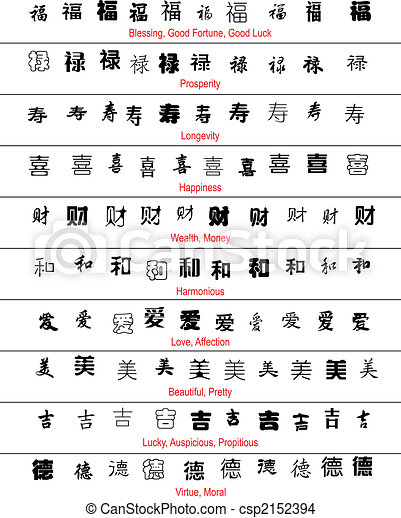 Vector Chinese Lucky Symbols With English Translation Eps Vector
