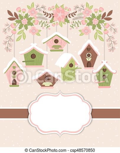 vector christmas and new year card template with birdhouses and floral branch birdhouses and