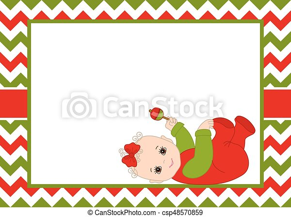 Vector christmas and new year card template with cute baby girl ...