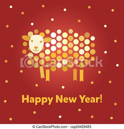 Vector Christmas background. Symbol of the year 2015 sheep. - csp24429483