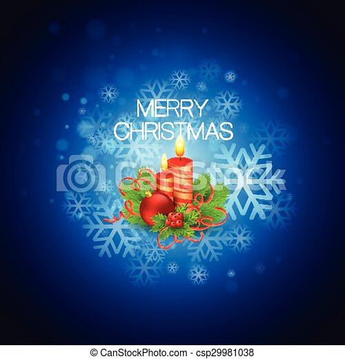 Vector Christmas background with candles - csp29981038