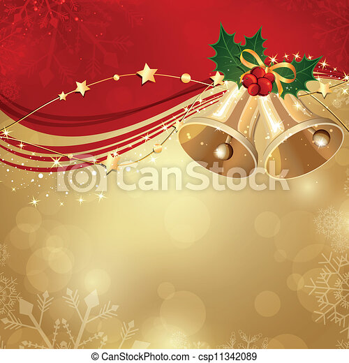 Vector Christmas Background with Two Bells - csp11342089