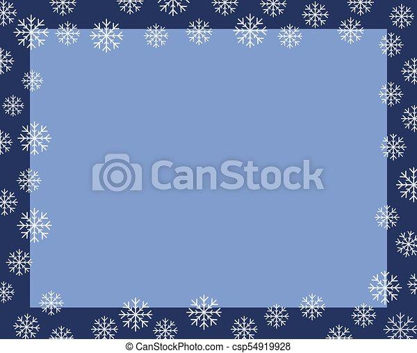 vector christmas border dark blue frame covered by white snow flakes