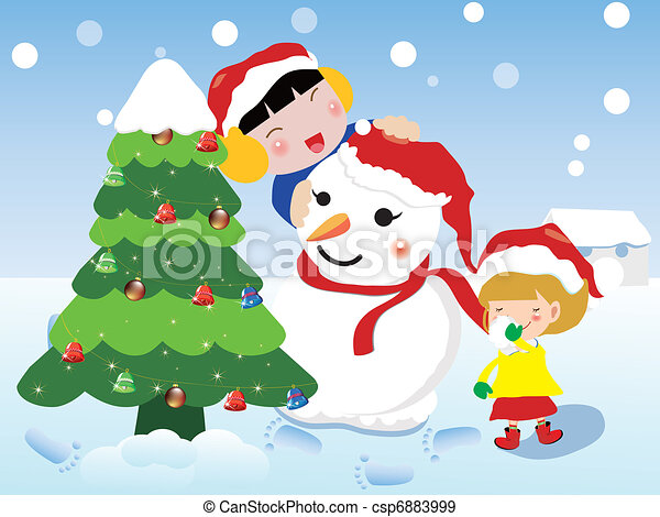 Christmas Celebration Images For Drawing.Vector Christmas Card Children And Snowman To Celebrate Christmas