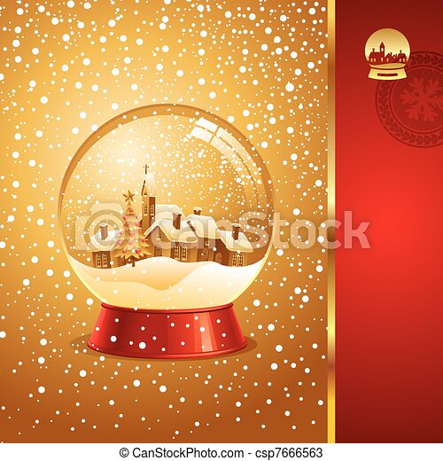 Vector Christmas card with snow globe - csp7666563