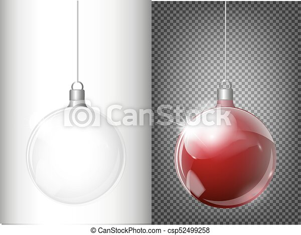 Vector Christmas Fir Tree And Realistic Transparent Silver Ball On A Light Abstract