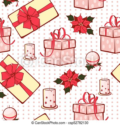 Vector Christmas Gifts Boxes And Candles Seamless Repeat Pattern Background Can Be Used For Holiday Giftwrap Fabric