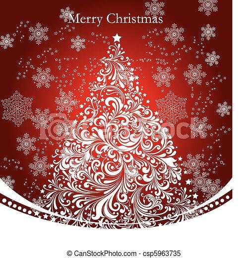 Vector christmas gold tree - csp5963735