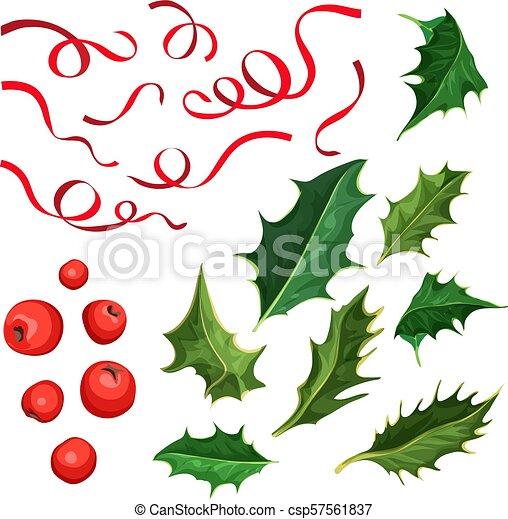 Christmas Leaves.Vector Christmas Holly Leaves Berries Ribbon Set