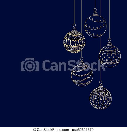 Vector Christmas Invitation Card From Five Gold Christmas Ball Toys On Dark Blue Background Hand Drawing Christmas Tree Ball Toys