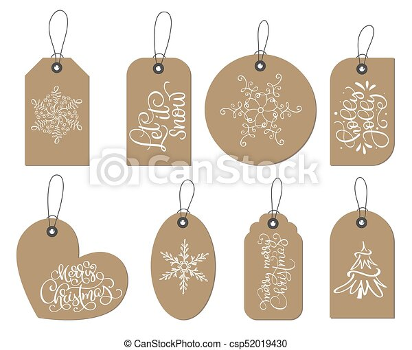 vector christmas labels tags collection with snowflakes fir tree