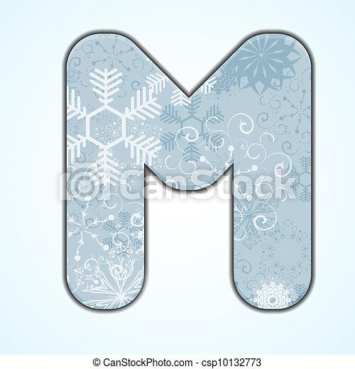 Vector Christmas Letter M On Blue Background Eps 10 Vectors