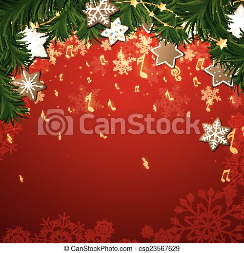 Vector Christmas Music Background - csp23567629