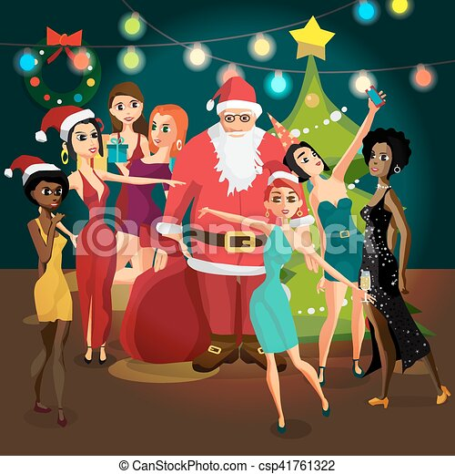 vector christmas new year party invitation santa claus is photographed with a group of girls