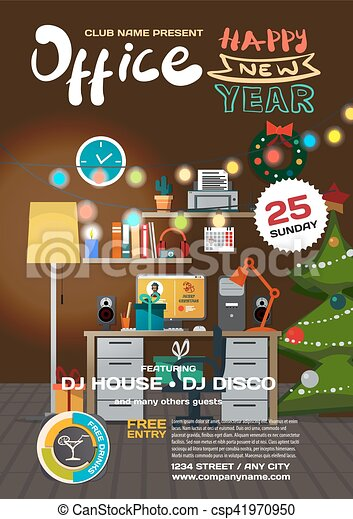 Vector christmas party invitation disco style in office template vector christmas party invitation disco style in office template posters or flyers stopboris Image collections