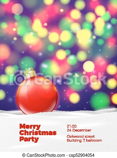 Vector Christmas poster template with red ball - csp52904054
