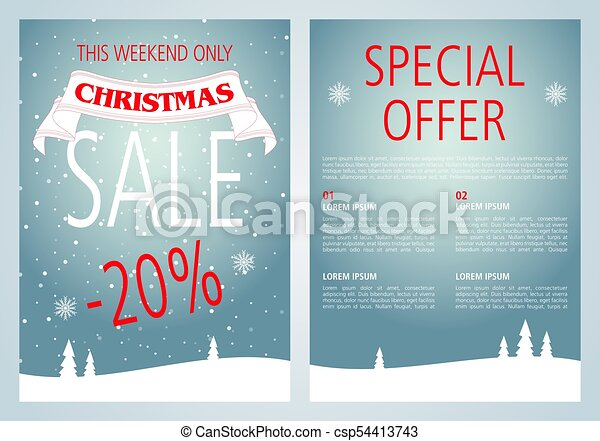 Vector christmas sale flyer design with light blue color. - csp54413743