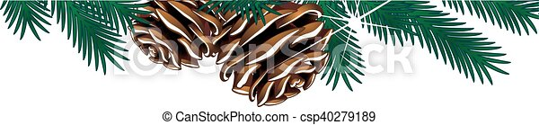 Vector christmas template with twigs and cones on the white background, winter border frame on the webpage - csp40279189