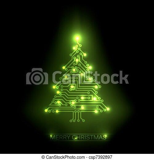 Vector christmas tree from digital circuit - csp7392897