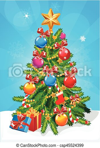 vector christmas tree star decoration balls and light bulb chain decorated christmas tree with