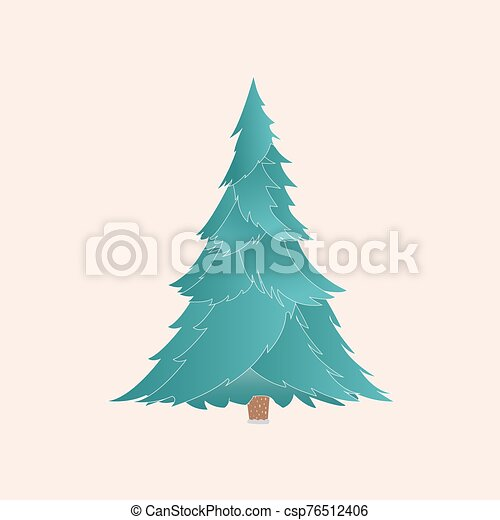 Vector christmas tree with realistic branches isolated - csp76512406
