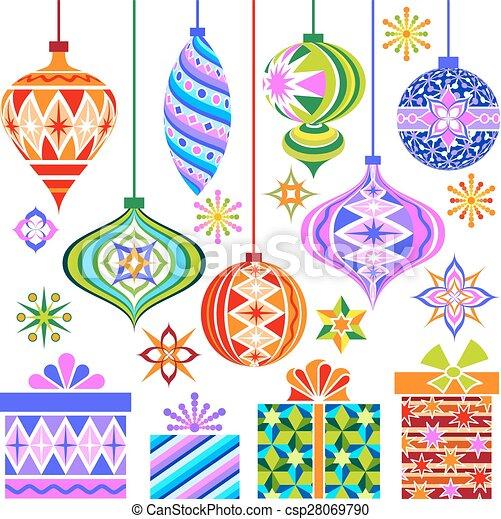 Christmas Ornaments Vector.Vector Christmas Vintage Ornaments